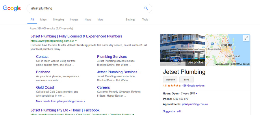 Google business listing for a plumber